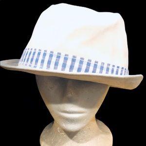 Perry Ellis portfolio Fedora style hat cap white